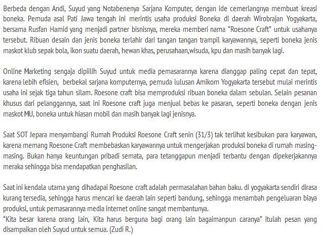 RoesOne Craft Jadi Topik Favorit Bisnis Kreatif di Majalah SOT Jepara