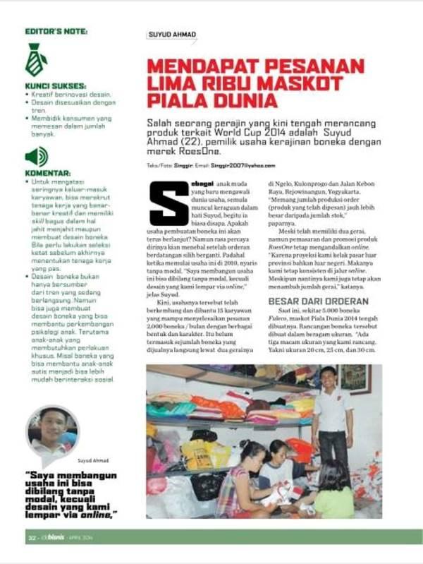 RoesOne Craft Masuk Liputan Utama Majalah IDE BISNIS KOMPAS GRAMEDIA