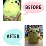 Reparasi Boneka Pikachu Before and After